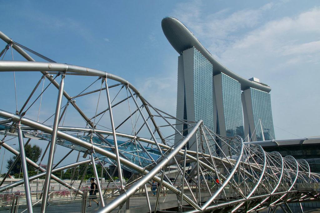 Marina Bay Sands et le Helix Bridge