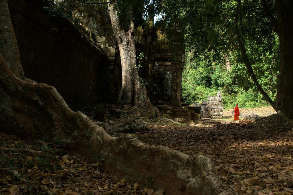 Moine en visite dans le Preah Khan