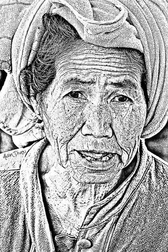 Dessin d'une femme laotienne