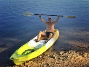 Alain en kayak sur le Mékong